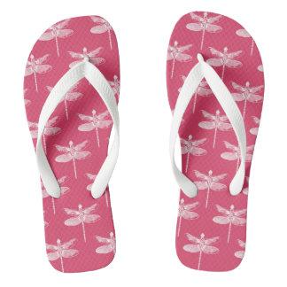 Libélula cor-de-rosa e branca chinelos