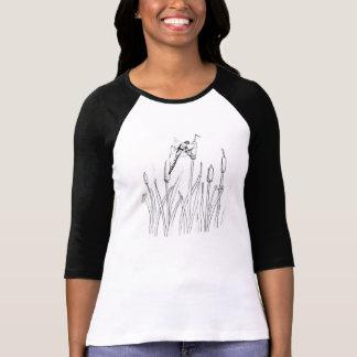 Libélula, lagoa, insetos, caudas de gato camiseta