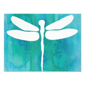 Libélulas brancas do azul do Aqua da aguarela da Impressão De Foto