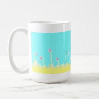 Libélulas e caneca de café das flores