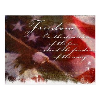 Liberdade-Bandeira e cartão de Eagle