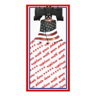 Liberty Bell com bandeira americana Cartão Com Foto