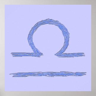 Libra. Sinal astrológico do zodíaco. Azul Poster