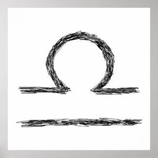 Libra. Sinal da astrologia do zodíaco. Preto Poster
