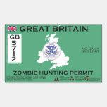 Licença da caça do zombi de Grâ Bretanha Adesivos Em Forma Retangular