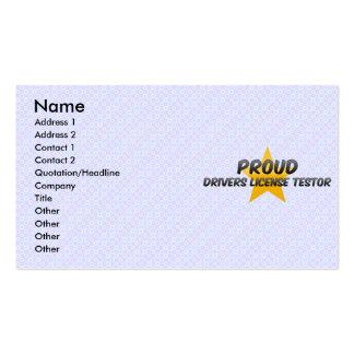 Licença de motoristas orgulhosa Testor Cartões De Visita