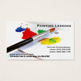 Lições da pintura - pincel na paleta de papel cartão de visitas