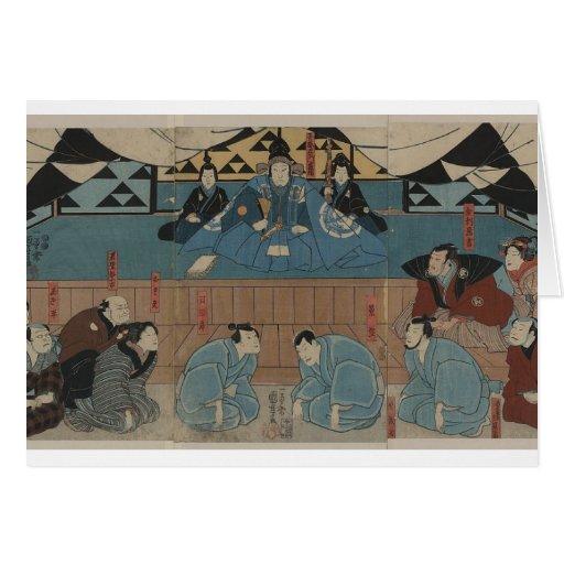 Líder antigo do samurai cerca dos 1800s cartões
