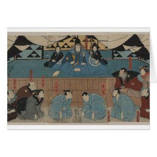 Líder antigo do samurai cerca dos 1800s cartão comemorativo