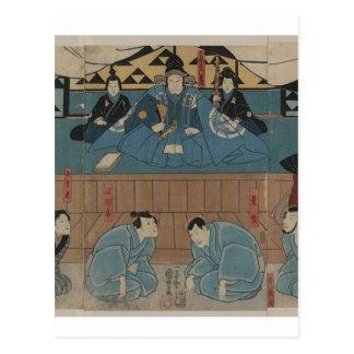 Líder antigo do samurai cerca dos 1800s cartão postal