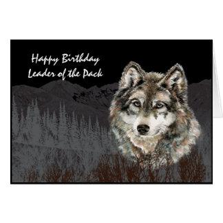 Líder do animal do lobo do humor do aniversário do cartão comemorativo