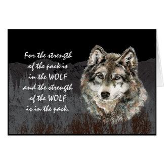 Líder do bloco, citações do lobo da força do bloco cartão comemorativo
