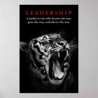 Liderança preta & branca do tigre inspirador pôster