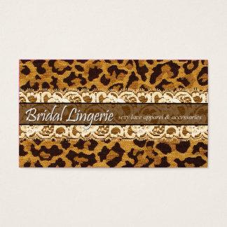 Liga laçado da lingerie nupcial Sassy do leopardo Cartão De Visitas