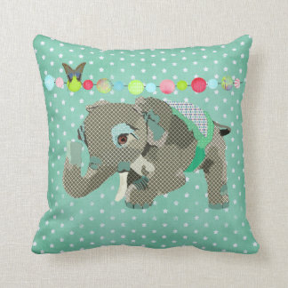 Lil' Lucky Elephant Green Stars   Mojo Pillow