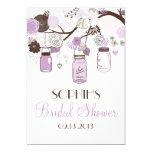 Lilac & chá de panela dos frascos de pedreiro de convites personalizado