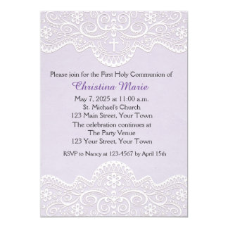 Lilac com laço, cruz, religiosa convite 12.7 x 17.78cm