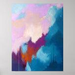 Lilac com pintura abstrata moderna do Aqua - KT 20 Poster