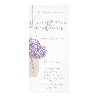 Lilac do frasco de pedreiro & programa branco do 10.16 x 22.86cm panfleto
