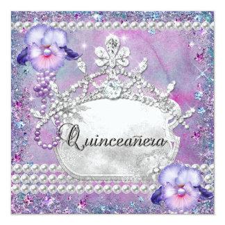 Lilac do roxo da festa de aniversário de convite quadrado 13.35 x 13.35cm