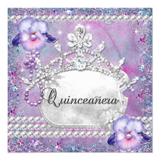 Lilac do roxo da festa de aniversário de Quinceane Convites Personalizados