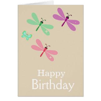 Lilac e cartão das libélulas do feliz aniversario
