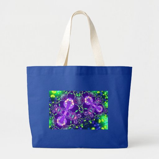 Lilac e Fractal azul da borboleta Bolsa Para Compras