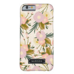 Lilac floral retro feminino chique & pêssego capa barely there para iPhone 6