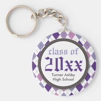 Lilac personalizado Argyle formal do chaveiro da