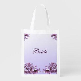 Lilac que Wedding o bolsa reusável nupcial Sacolas Ecológicas Para Supermercado