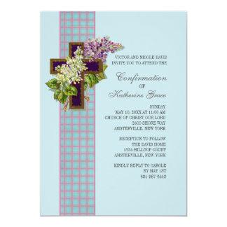 Lilacs e convite religioso do crucifixo convite 12.7 x 17.78cm