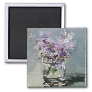 Lilacs em um vidro por Edouard Manet Ímã Quadrado
