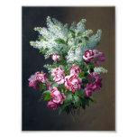 Lilacs roxos do rosa do vintage e os brancos impressão fotográfica
