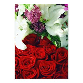 Lillies_Invitation do rosa vermelha e o branco Convite 12.7 X 17.78cm