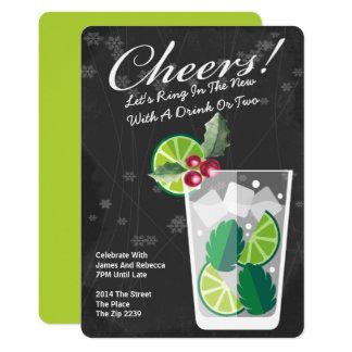 Limão do ano novo e cocktail da hortelã convite 12.7 x 17.78cm