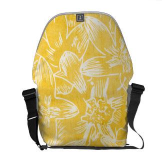 Limão fresco do hibiscus - botânico floral amarelo bolsas mensageiro