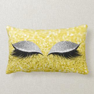 Limão Glam do amarelo da composição do preto do Almofada Lombar
