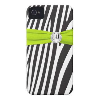Limão Monogrammed, preto, zebra branca listrada Capas Para iPhone 4 Case-Mate