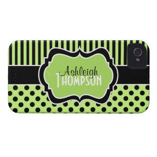 Limão personalizado, preto, bolinhas listradas capa para iPhone 4 Case-Mate