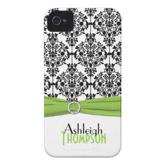 Limão personalizado, preto, damasco branco capa para iPhone 4 Case-Mate