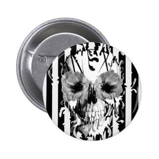 Limbo, crânio listrado preto e branco bóton redondo 5.08cm