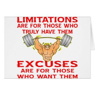 Limitações do Bodybuilder contra desculpas Cartão