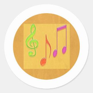 Limite a soar bom - símbolos de música da dança adesivos em formato redondos