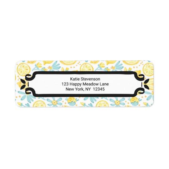 Limões amarelos & flores azuis teste padrão etiqueta endereço de retorno