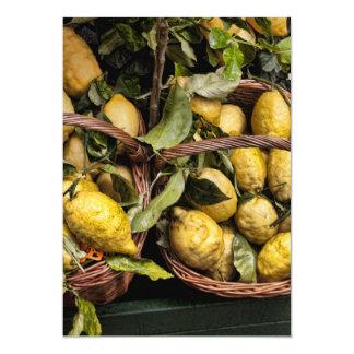 Limões italianos elegantes em uma cesta convite 12.7 x 17.78cm