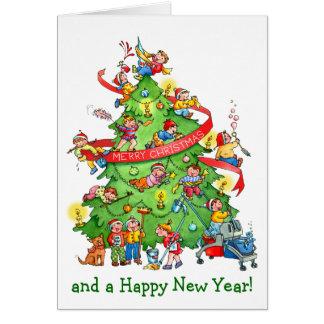 Limpando o cartão dos feriados da árvore de Natal