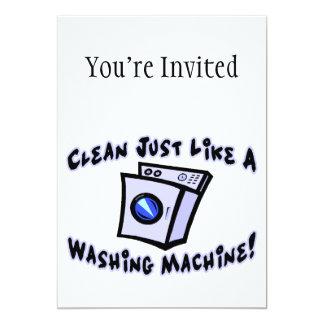 Limpe apenas como uma máquina de lavar convite 12.7 x 17.78cm