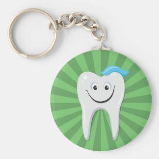 Limpe o dente feliz verde dos desenhos animados co chaveiro