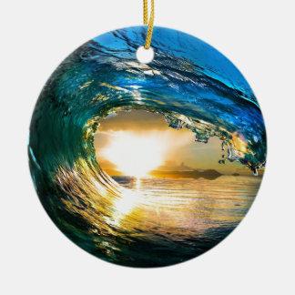 limpe ocean.jpg ornamento de cerâmica redondo