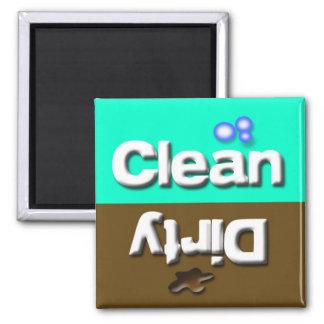 Limpe/prato sujo da cozinha da máquina de lavar ímã quadrado